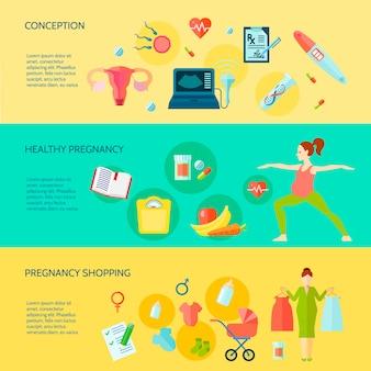 Horizontale fahnen der schwangerschaft stellten mit einkaufssymbolen der schwangerschaft ein