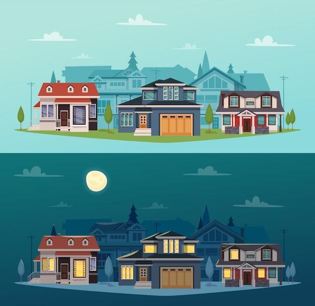 Horizontale fahnen der vorstadthäuser mit bunten häuschen