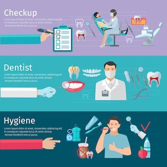 Horizontale fahnen der zahnsorgfalt stellten vorbeugende überprüfungszahnarztwerkzeuge und hygieneprodukte flaches ve ein