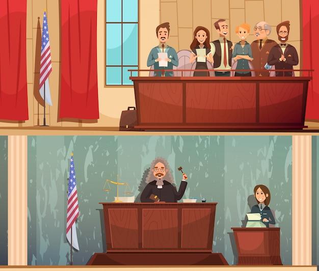 Horizontale fahnen des amerikanischen gesetzes und der gerechtigkeit 2 weinlesekarikatur mit der aussprache des satzes im gerichtssaal