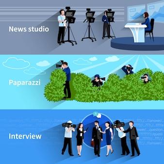 Horizontale fahnen des fotografen und des videofilmers eingestellt