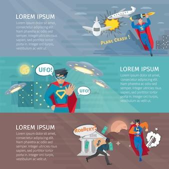 Horizontale fahnen des superhelden stellten mit ufo-symbolen ein