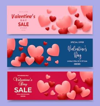Horizontale fahnen des valentinstagverkaufs