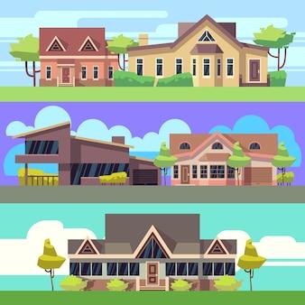 Horizontale fahnen des vektors eingestellt mit wohnhäusern