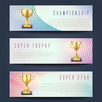 Horizontale fahnen mit goldener trophäenschalen des sports vector sammlung. superstern-, meisterschafts- und trophäenfahnen-kartenillustration