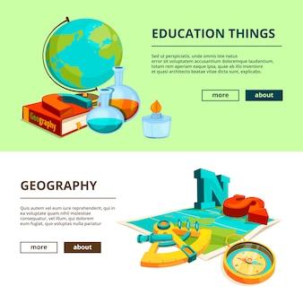 Horizontale fahnen mit karikaturbildern von wissenschafts- und geografiesymbolen