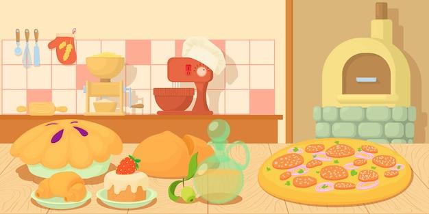 Horizontale fahnenkonzeptproduktion der bäckerei