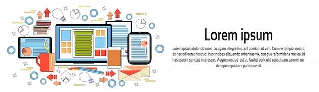 Horizontale fahnenschablone des arbeitsplatz-schreibtisch-konzeptes, geschäfts-arbeitsplatz mit computer, diagrammen und dokumenten auf digital-tablets