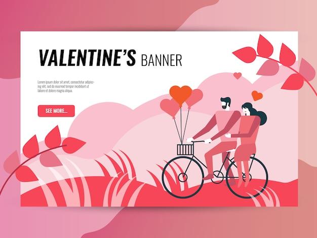 Horizontale fahnenschablone des valentinstags für website