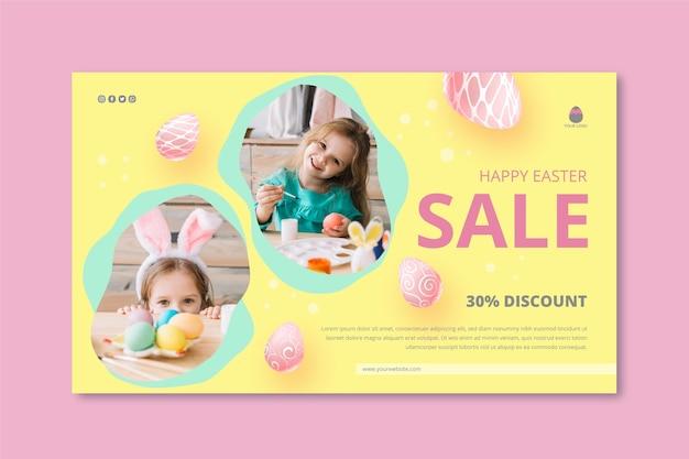 Horizontale fahnenschablone für osternverkauf mit kleinem mädchen und eiern