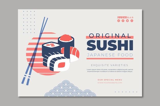 Horizontale fahnenschablone für sushi-restaurant