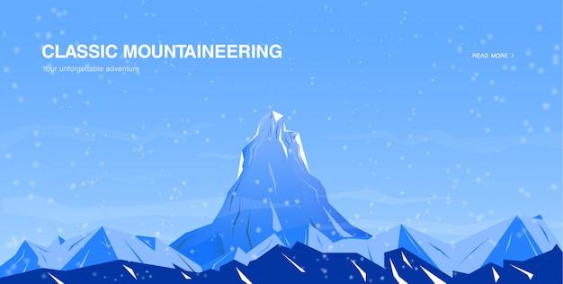 Horizontale fahnenschablone mit bergen.