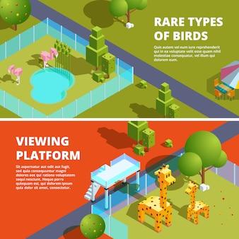 Horizontale fahnenschablone mit illustration des zoos und der lustigen tiere