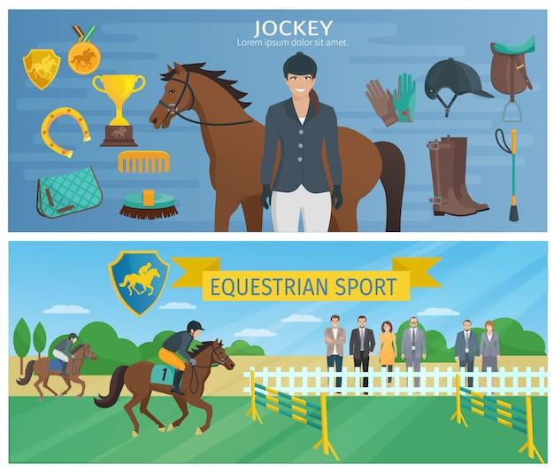 Horizontale farbdekorative fahnen, die jockey mit ausrüstung und pferd darstellen