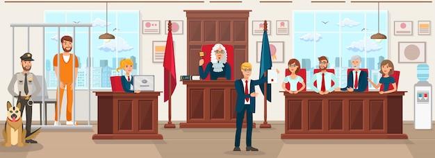 Horizontale flache vektor-illustration jury trial.