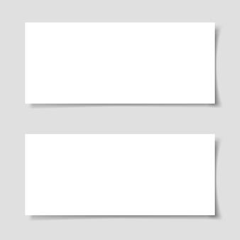Horizontale flyer mit schatten auf grauem hintergrund. vorlage für flyer oder banner