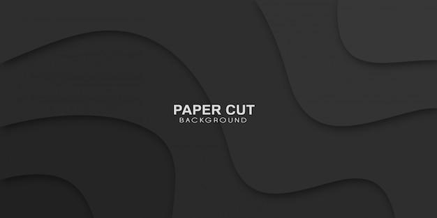 Horizontale geschäftsfahne mit schwarzem texturhintergrund im papierschnittstil.