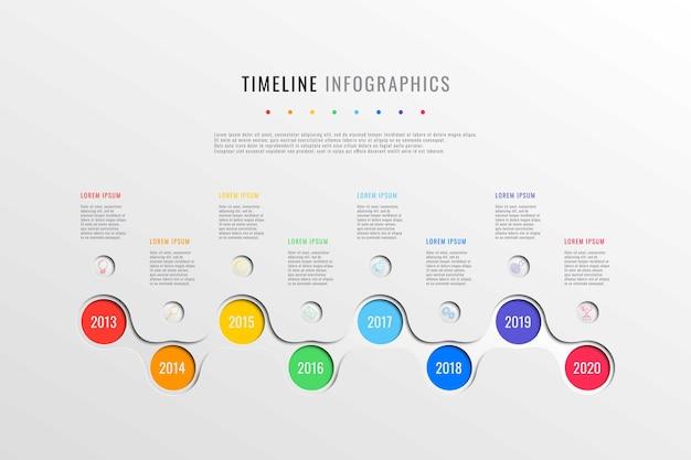 Horizontale geschäftszeitleiste mit 8 runden elementen, jahresangabe und textfeldern auf weißem hintergrund. realistische 3d-papierschnitt infografiken vorlage. präsentation der modernen firmengeschichte.