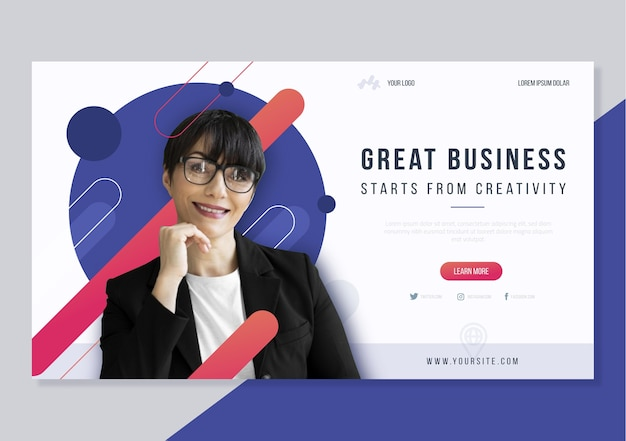 Horizontale große business-web-template-design