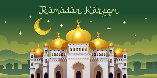 Horizontale grußkarte des ramadan kareem mit orientalischem nachtstadtbild mit mond und großer moschee mit verziertem text