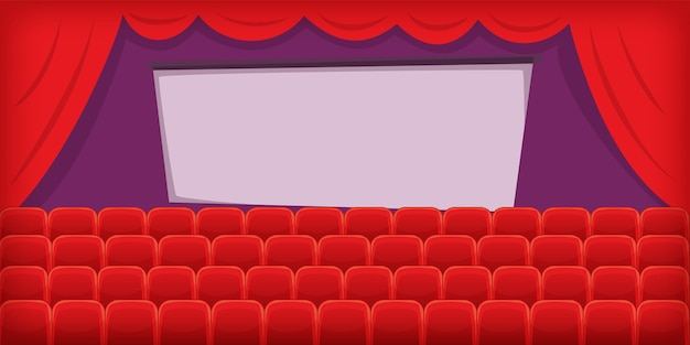 Horizontale hintergrundhalle des kinofilms, karikaturart