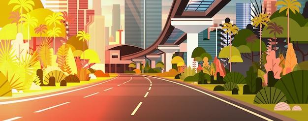 Horizontale illustration der modernen stadt-sonnenuntergang-ansicht landstraßen-straße mit wolkenkratzern und eisenbahn