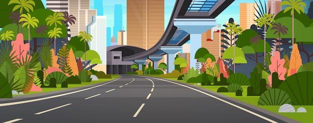 Horizontale illustration der modernen stadtansicht-landstraßen-straße mit wolkenkratzern und eisenbahn