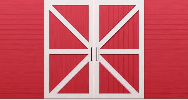 Horizontale illustration der roten hölzernen scheunentürvorderseite hintergrund