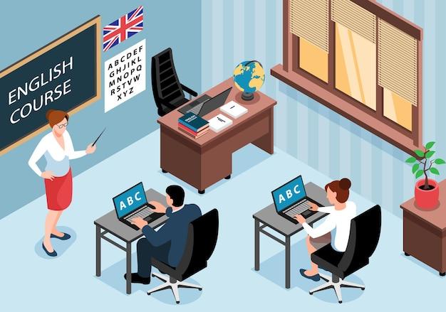 Horizontale illustration des isometrischen englischen sprachtrainingszentrums