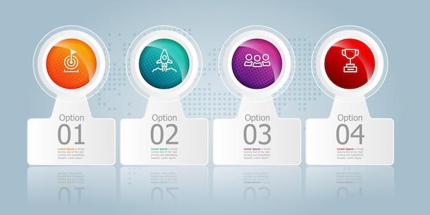 Horizontale infografik-elementpräsentation mit business-symbolen 4 schritte vektor-illustration hintergrund