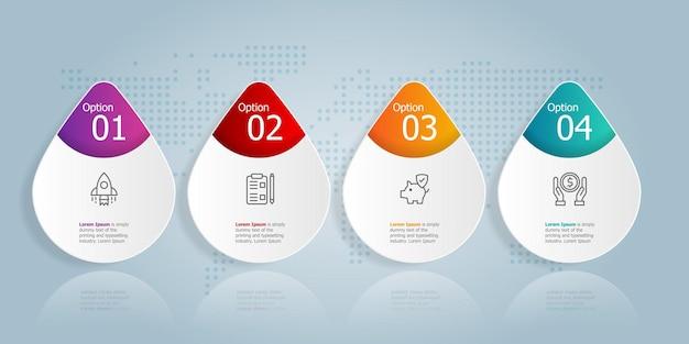 Horizontale infografik-präsentation-element-vorlage mit business-symbol 4 optionen vektor-illustration hintergrund