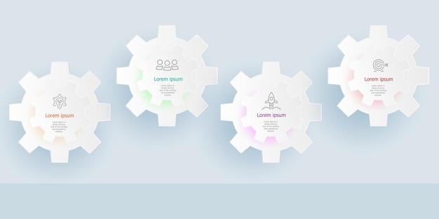 Horizontale infografiken 4 schritte