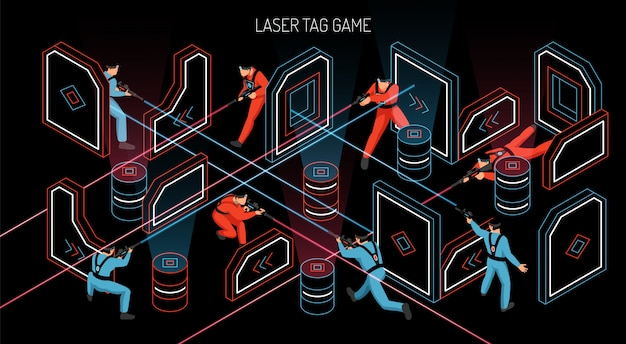 Horizontale isometrische zusammensetzung des lasertag-teamspiels im freien mit spielern, die infrarotempfindliche zielvektorillustration abfeuern