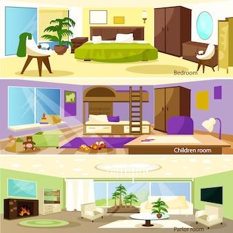 Horizontale karikatur-wohnzimmer-innenfahnen