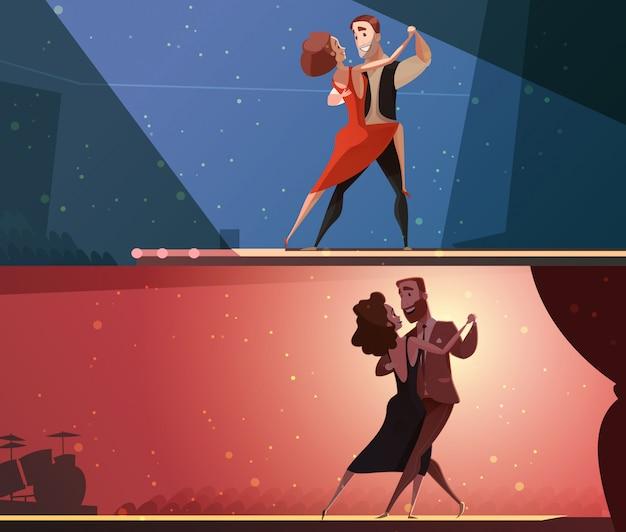 Horizontale karikaturfahnen des retro tanzstudios 2 eingestellt mit dem tango und salsa, die paare durchführen
