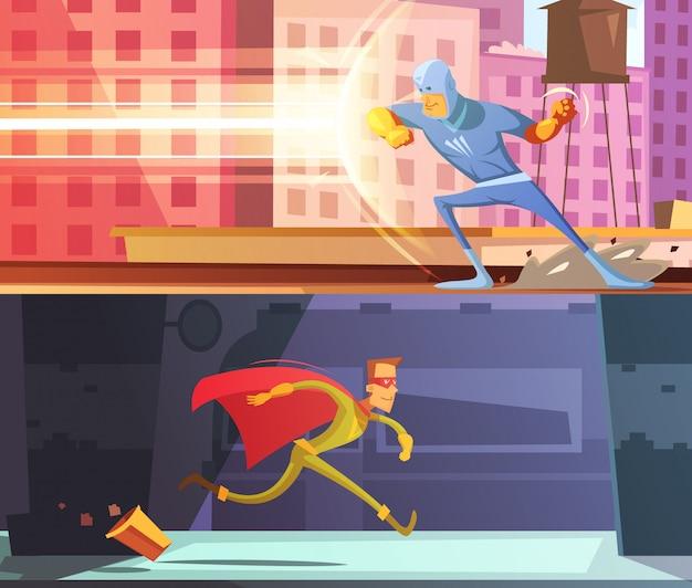 Horizontale karikaturfahnen des superhelden eingestellt