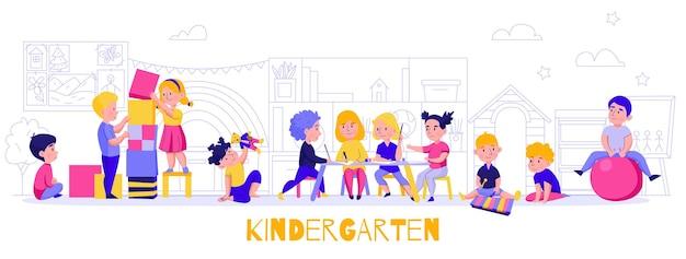 Horizontale komposition der kindergartenspielarbeit mit der silhouette der möbel und der außenlandschaft mit lehrer und kindern