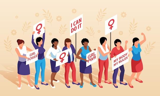 Horizontale komposition des isometrischen feminismus mit einer gruppe von frauen, die plakate mit weiblichem geschlechtssymbol und text halten
