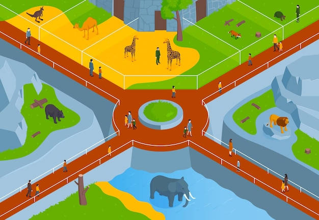Horizontale komposition des isometrischen zoos mit vogelperspektive des zoologischen parks mit gassentieren und besucherillustration