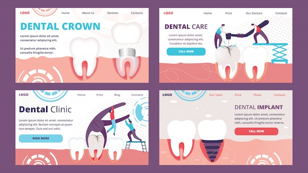 Horizontale landingpage-vorlage set of teeth problems dentistry