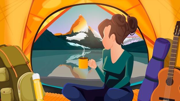 Horizontale landschaft mit einem berg und einem mädchen in einem zelt