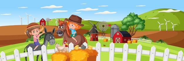 Horizontale landschaftsszene der kinder in der naturfarm zur tageszeit