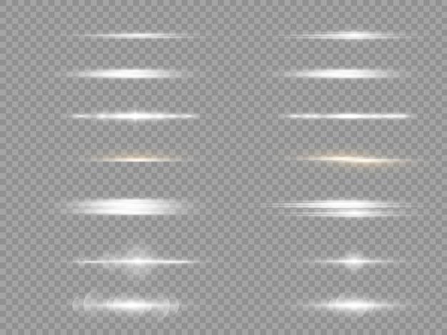 Horizontale lichtstrahlen, blitzweißes horizontales linseneffektpaket, laserstrahlen.