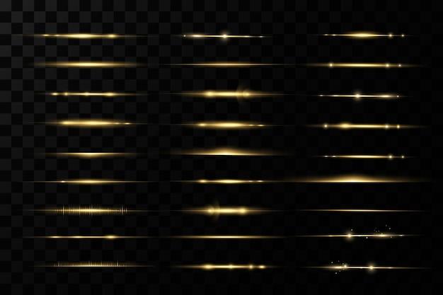 Horizontale lichtstrahlen. glühen sie transparenten vektorlichteffektsatz, funken, sonneneruption