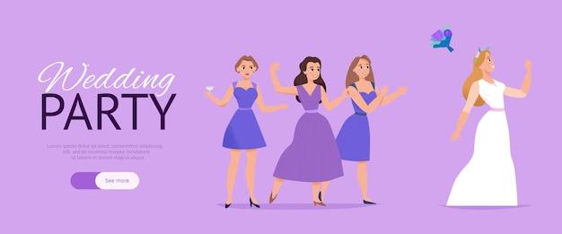 Horizontale lila web-banner der hochzeitsfeierwebsite mit hochzeitszeremonie