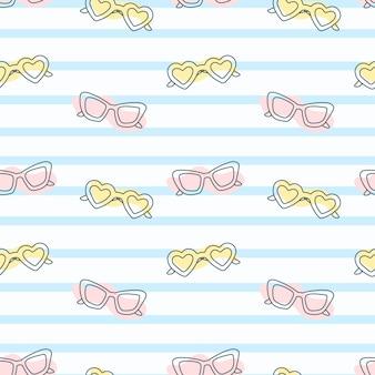 Horizontale linien oder streifen und mehrfarbige cartoon-sonnenbrillen. einfaches nahtloses sommermuster.