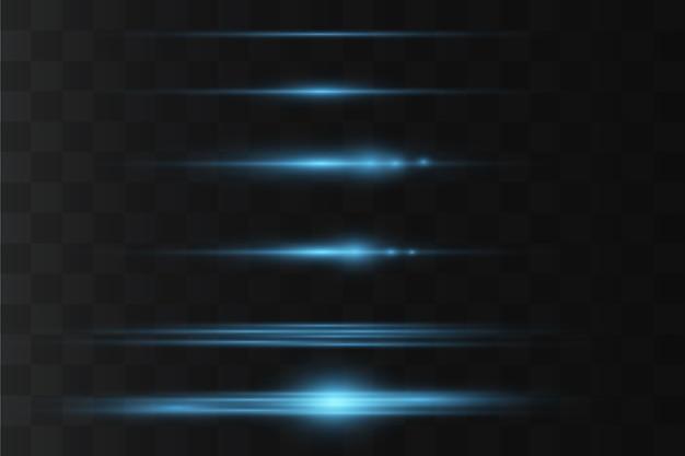 Horizontale linseneffektpackung. laserstrahlen, horizontale lichtstrahlen. leuchtende streifen auf dunklem hintergrund.