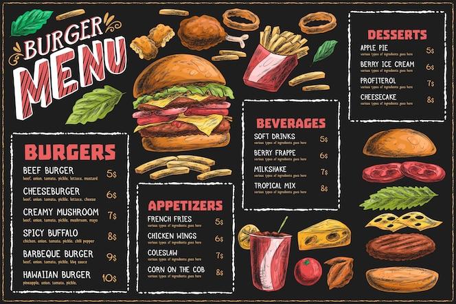 Horizontale menüvorlage mit burger und pommes
