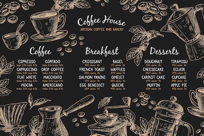 Horizontale menüvorlage mit kaffee