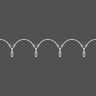 Horizontale nahtlose randschablone des metallstacheldrahtes und elementobjekt.